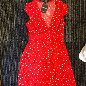 Red floral cotton dress
